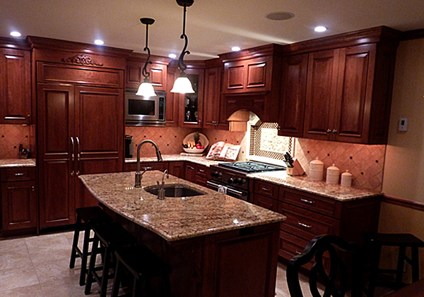 Cherry Cabinets With Granite Image Cabinets And Shower Mandra